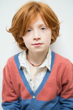 Picture from Ganaëlle Plume photographer, Je suis en CP ! Handsome Ulysse is wearing our bicolor gilet and classic shirt. Boys Long Hairstyles, Cool Haircuts, Guy Haircuts, Medium Haircuts, Red Hair Freckles, Ginger Boy, Freckle Face, Strawberry Blonde Hair, Blonde Boys