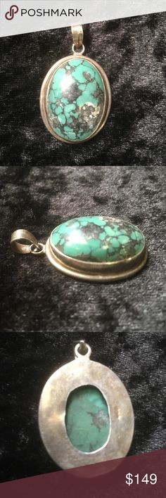 Estate Old Pawn Sterling Turquoise Pendant Beautiful vintage Sterling pendant with genuine turquoise stone. Old pawn. I bought it in New Mexico over 25 years ago at a flea market. Stamped 925. Jewelry Necklaces