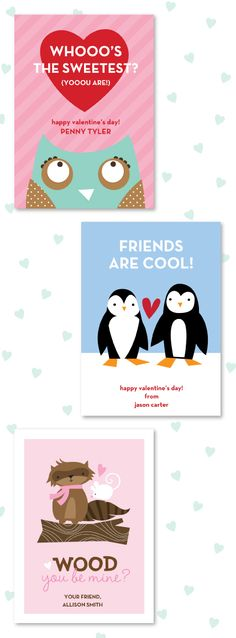Stacy Claire Boy Valentine Cards for Kids #penguin #owl #raccoon #valentine #heart #personalized #kid