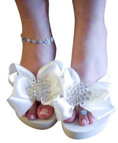 Ivory White Bridal Flip Flops Jewel Flat Wedge Rhinestone Satin Rhinestone Bow Wedding Bride platform heel Wedding Ribbon bridesmaids