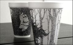 Coffee cup drawings by Cheeming Boey. I think he has a shop on Etsy. Amazing line drawings. Ask Starbucks for free cups. In turn, they can display artwork. Coffee Cup Drawing, Coffee Cup Art, Stippling Drawing, Drawing Art, 3d Drawings, Sharpie Cup, Illustration Pen And Ink, Foam Cups, Disposable Cups