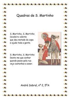 s. martinho atividades - Pesquisa Google Portugal, Autumn, Kids, Christmas Tree Ornaments, Saints, Log Projects, Writing, Poems, Note Cards