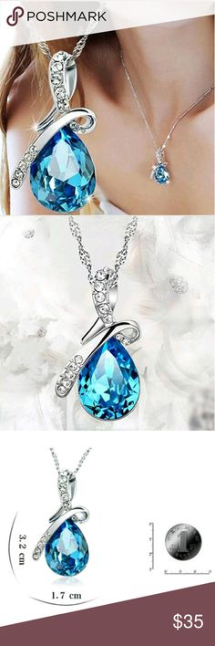 """NEW! Beautiful Blue Ice Rhinestone Necklace This is so pretty!  Beautiful Blue Pendant  Rhinestones-Stainless Steel-Alloy Chain Length: Approx. 16""""  Pendant .6"""" W x 1.25"""" L New in package   No Trades  Fast Shipping Moda Ragazza  Jewelry Necklaces"""