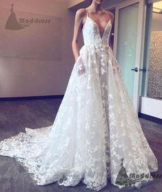 white lace wedding dress v-neck a-line long prom dress spaghetti straps evening dress,HS364 #fashion#promdress#eveningdress#promgowns#cocktaildress