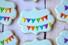 Rainbow Bunting Cookies by Munchkin Munchies.