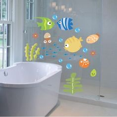 Miryo-Pegatinas Adhesivos vinilos decorativos pared Peces dibujos animados Removible para baño ventana dormitorio infantil