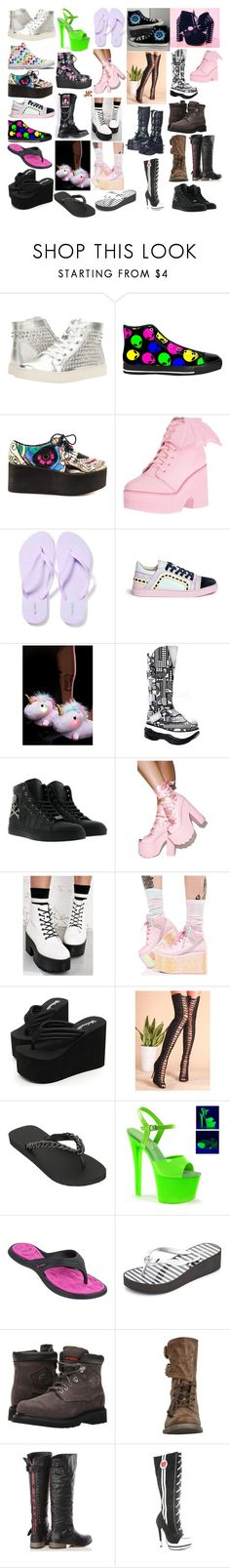 """""""Girl Shoes 40"""" by spellcasters ❤ liked on Polyvore featuring Steve Madden, Iron Fist, Old Navy, Sophia Webster, Smoko, Converse, Demonia, Y.R.U., WithChic and Uzurii"""