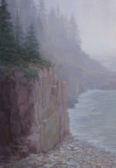 You can feel the chill of the fog on your face and hands and though the waves roll in, the sound is muffled almost to quietude.  Acadia Fog by Kathleen Dunphy.