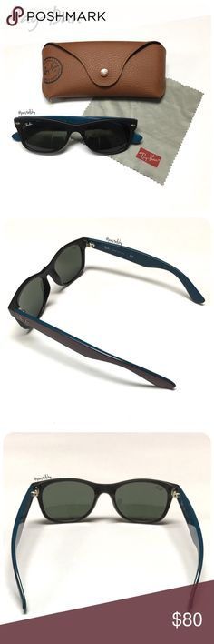 """RAY-BAN sunnies PRELOVED authentic ray-ban """"new wayfarer"""" sunnies in perfect condition, used a few times. no scratches or imperfections. includes cloth & case- a little paint rubbed off the snap closure & thread is coming loose (zoom in on 1st photo)  details ∙ unisex ∙ 100% UV protection ∙ black frame ∙ maroon outside, aqua blue inside on arms   please don't hesitate to ask questions. happy POSHing 😊  💰 use offer feature to negotiate price 🚫 i do not trade or take any transactions off…"""