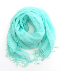 Mint Linen Scarf Mint Green Pastel Scarf - can be painted with Mai's symbols
