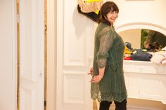 So green and light - knitted lacy sweater-dress