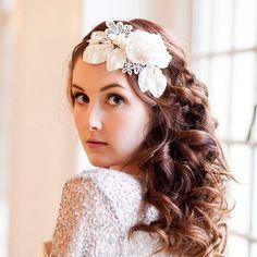 Vintage Velvet Blossom and Crystal Headdress by MillesimeBride