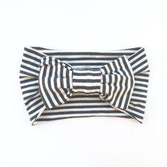 One Size Bamboo Big Bow Turban Charcoal/Ivory Stripe