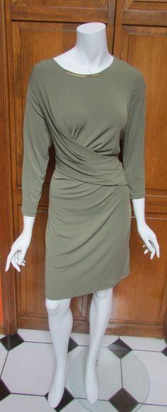 Michael Kors Safari Green 3/4 Sleeve Above Knee Dress Sz L & XL NWT #MichaelKors #FauxWrap #WeartoWork