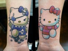 Hello Kitty is a Japanese Cultural Character created by Sanrio in Hello Kitty a little white cat(Neko) trademark registered in It is so much popular from then and used in every possible way from animated series to cartoons, toys, nail art. Mermaid Tattoo Designs, Cat Tattoo Designs, Mermaid Tattoos, Tattoo Designs And Meanings, Tattoo Sleeve Designs, Hello Kitty Tattoos, Hello Kitty Nails, Wrist Tattoos, Foot Tattoos