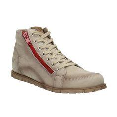 Kožená kotníčková obuv s červeným zipem
