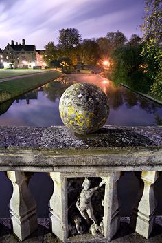 Sphere on Clare Bridge within Clare College at Cambridge University in England. Clare Bridg was built in 1639