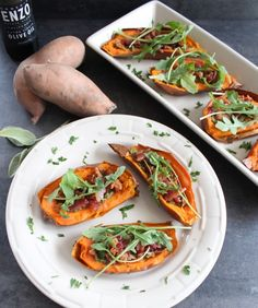 Sweet Potato Skins with Sage Pesto. Feel free to use any brand of Olive Oil :)  The 30 Clean approved!