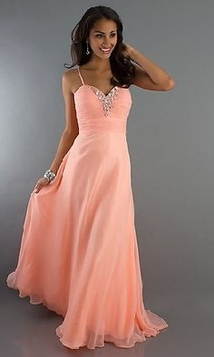 Spaghetti Straps Sleeveless Light Orange Chiffon Pleated Beading Floor Length Zipper Up A-line Long Prom Dress /Evening Dress LPD84184