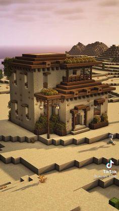 Minecraft Desert House, Minecraft Cottage, Easy Minecraft Houses, Minecraft Room, Amazing Minecraft, Minecraft Crafts, Minecraft Storage Room, Cool Minecraft Creations, Minecraft Mansion