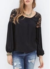 Lantern Sleeve Round Neck Lace Splicing Tee