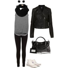 Outfit with White High Top Converse on Polyvore