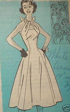 1950s Anne Adams mail order pattern 4899 - interesting strap/neckline detail
