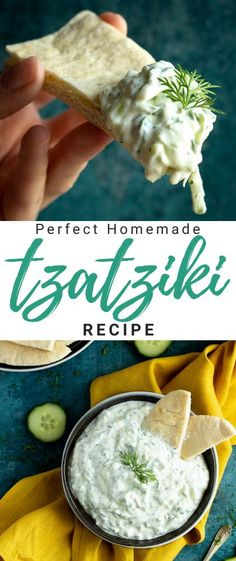 Learn how to make the most creamy and refreshing tzatziki dip at home with this super easy step by step picture recipe! It's incredibly delicious, perfect for parties and a million times better than shop bought! Click for the full recipe, helpful tips, video tutorial and more... #tzatziki #tzatzikisauce #tzatzikisaucerecipe #tzatzikirecipe #dips #diprecipes #partyfood Authentic Tzatziki Recipe, Easy Tzatziki Recipe, Tzatziki Recipes, Homemade Tzatziki, Tzatziki Sauce, Easy Main Course Recipes, Fun Easy Recipes, Easy Snacks, Dip Recipes