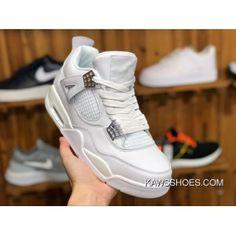 Air Jordan 4 Pure Money Aj4 White Siliver Pure White All White 308497-100  Men Shoes Discount 4dd6a7662