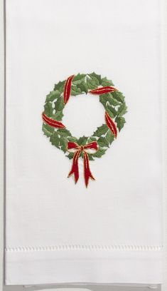 White Cotton Holly Ribbon Wreath Christmas Hand Towel, Set of Two