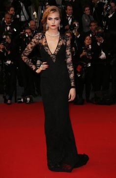Cara Delevingne   Black lace Burberry with mega glitter by Chopard Cannes  Film Festival 9b1634c7b633