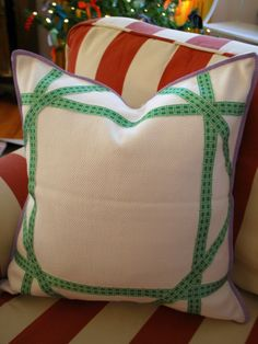 DIY CANED RIBBON PILLOW via Effortless Style