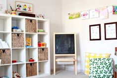 kids' room with cube shelving