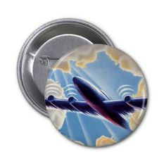 Vintage Airplane Flying Through Clouds Blue Sky Button - lifestylerstore - http://www.lifestylerstore.com/vintage-airplane-flying-through-clouds-blue-sky-button/