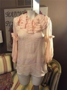 NWT-Dolce-Gabbana-D-G-Blush-Pink-Sheer-Silk-Ruffle-Top-Shirt-Blouse-Size-38-4