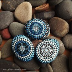 Set of 3 Painted Stones, Water design, Office and home ornament, Aboriginal Dot Art, Painted stone, paper weights