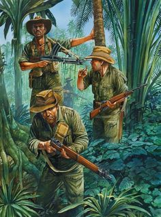 Chindits in Burma, 1944 - Peter Dennis - - Myanmar - British Army Military Art, Military History, Army Drawing, Burma, Ddr Museum, British Army Uniform, Military Drawings, Indochine, Italian Army