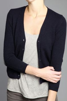simple cardigan with two tones of grey