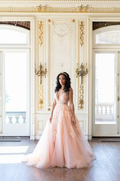v neck pink wedding dress Mila