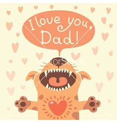 Card happy fathers day with a funny puppy vector by Baksiabat on VectorStock®