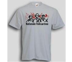 T-Shirt NVA - Nationale Volksarmee.  Auf dem T-Shirt sind 3 Soldaten, stellvertretend für die Waffengattungen das Heer, die Marine und die Luftwaffe der NVA der DDR, abgebildet. / mehr Infos auf: www.Guntia-Militaria-Shop.de