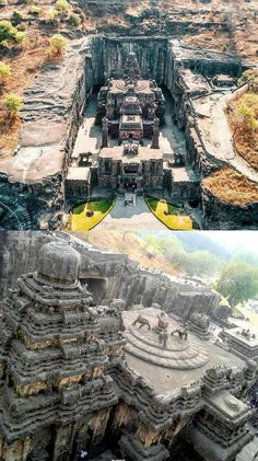 The Kailasha temple is the largest monolithic rock-cut temple in the world, located in the Ellora Caves, Maharashtra, India - Indian Temple Architecture, Ancient Architecture, Modern Architecture, Temple India, Ancient Buildings, Modern Buildings, Ancient Ruins, Beautiful Places To Travel, Kirchen