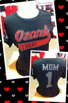 Ozark Tigers-- bling shirts with rhinestone name and number!!
