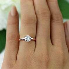Etsy 1 ct Low Profile Wide Solitaire Engagement Ring, Man Made Diamond Simulant, Wedding Ring, Bridal Rin