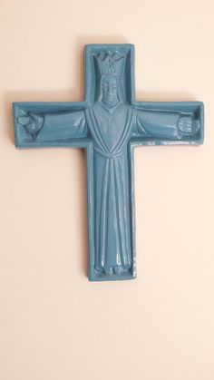vintage ceramic cross, jesus, crucifix, vintage crucifix, upcycled blue corpus christi icon, religious icon, jesus cross, ceramic crucifix