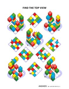 Find Top View Visual Math Puzzle Stock Vector - Image: 90304206