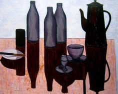 John Brack - Breakfast still life - oil on board, 59 x 72.5 cm.