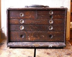 Vintage Union Tool Chest - Wood Machinist's Chest with Six Drawers from Copper and Tin Antique Tools, Vintage Tools, How To Antique Wood, Vintage Chest, Vintage Box, Machinist Tool Box, Painted Stools, Vintage Storage, Wood And Metal