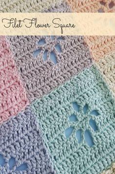 Filet Flower Square – FREE Crochet Pattern