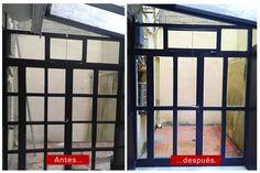 Cerramiento para interior de patio de vivienda, con perfilería de acero. Con puerta y ventana practicable. #donostia #sansebastian #herreria